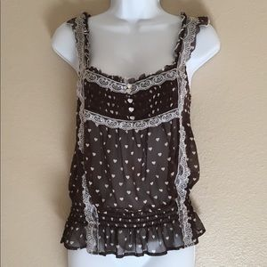 Bebe Brown White Camisole